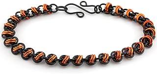 Weave Got Maille Double Orbital Chainmaille Bracelet Kit, Black/Orange