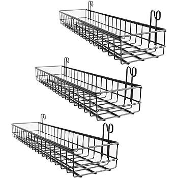 Vers/átiles estantes de Metal para ba/ño mDesign Juego de 2 estantes de Pared Gris Garaje o lavadero Cestas de Rejilla con Barra para Toallas