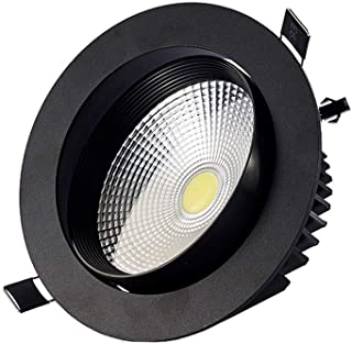 Ángulo ajustable COB Spotlight American antirreflejos LED Lámpara de techo Black Round Cabinet Spot Lámpara Empotrable Pan...