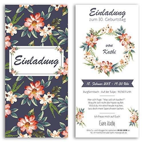 (20 x) Einladungskarten Geburtstag Blumen ausgefallen originell Party Einladungen