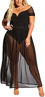 Women's Plus Size Lace Off Shoulder Sweetheart Bodysuit Sheer Club Long Dress