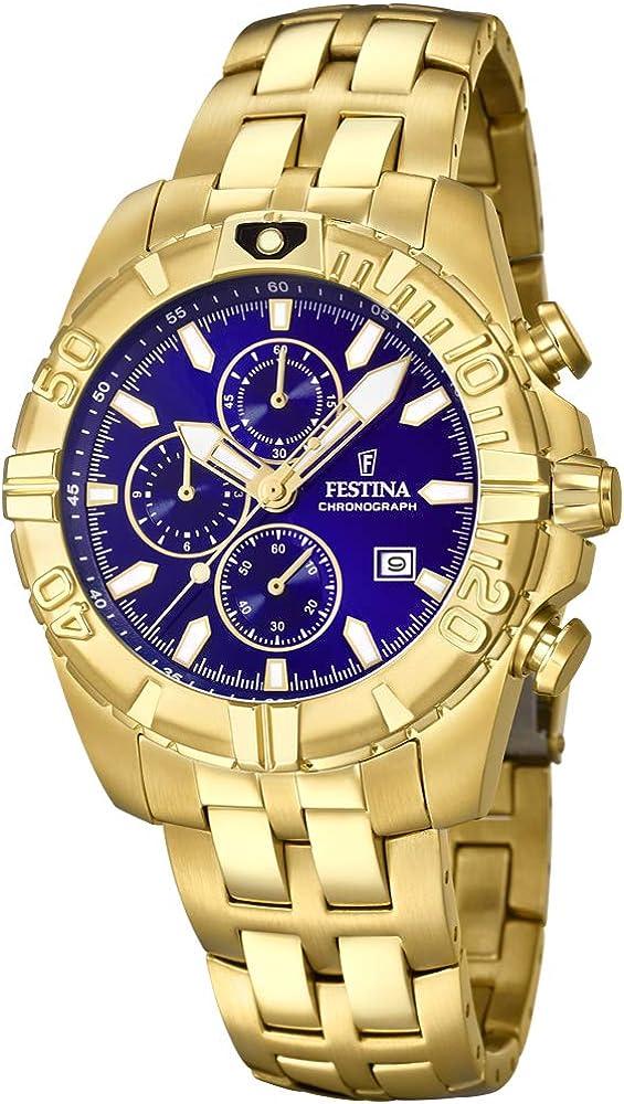 Festina orologio cronografo cinturino in placcato oro F20356/3