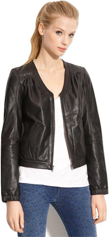 Fadcloset Womens VNeck Leather Jacket
