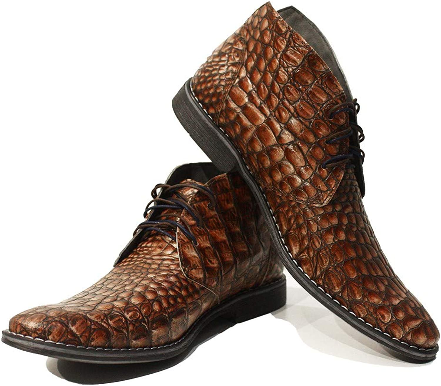 Peppeshoes Modello Umberto - Handmade Italian Leather Mens color Brown Ankle Chukka Boots - Cowhide Embossed Leather - Lace-Up