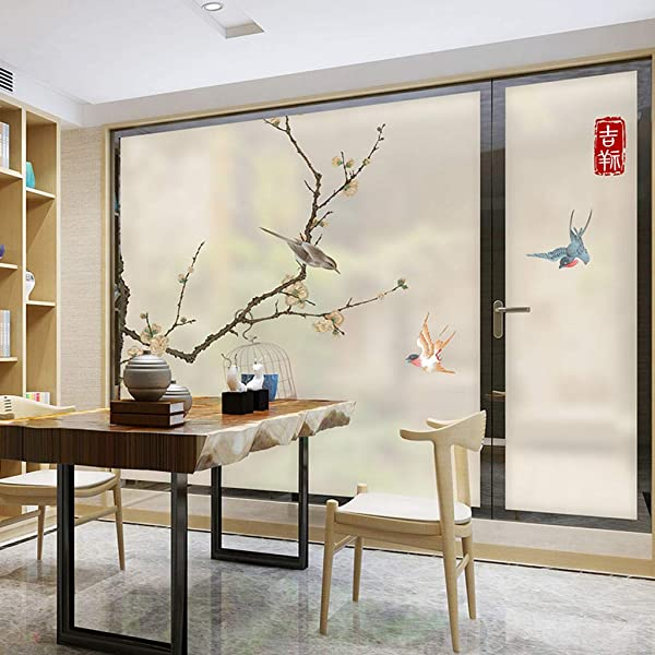 MOSU Chinese Style Decorative Film Self Sticking Static Cling Privacy Window Film Frosted Window Film Glass Film Bathroom Sliding Door Bedroom Decal 120x198Cm 47x78Inch