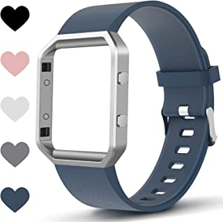 TreasureMax Compitable for Fitbit Blaze Bands with Frame,Silicone Fitbit Blaze Band for Women/Men,Small/Large