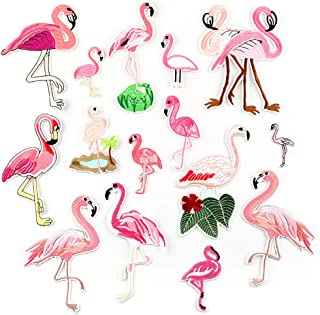 Yesallwas Embroidery Patches for Clothing Iron On DIY Stickers On Clothes Embroidery Applique Patches (Flamingo)