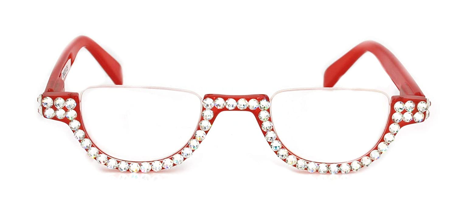 outlet The Half Moon Crystal Bling Glasses with Reading Los Angeles Mall Women Adorned
