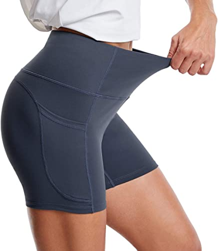 THE GYM PEOPLE High Waist Yoga Shorts for Women Tummy Control Fitness Athletic Workout Running Shorts with Deep Pockets