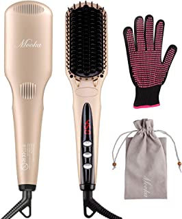 MOOKA Ionic Hair Straightener Brush by MiroPure for Silky Frizz-free Hair with MCH Heating Technology for Great Styling at Home