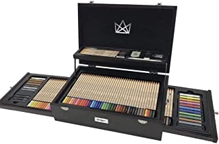 KINGART Select Series Art & Graphic Collection, Set of 110 Art Set Assorted, Espresso Stained Hardwood Case, Silver Hinge...