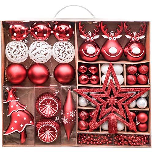 Victor's Workshop Palline di Natale 92 Pezzi Set di Palline di Natale, Decorazioni in Plastica per Albero di Natale Decorazioni Natalizie Celebrazioni Rosso Bianco