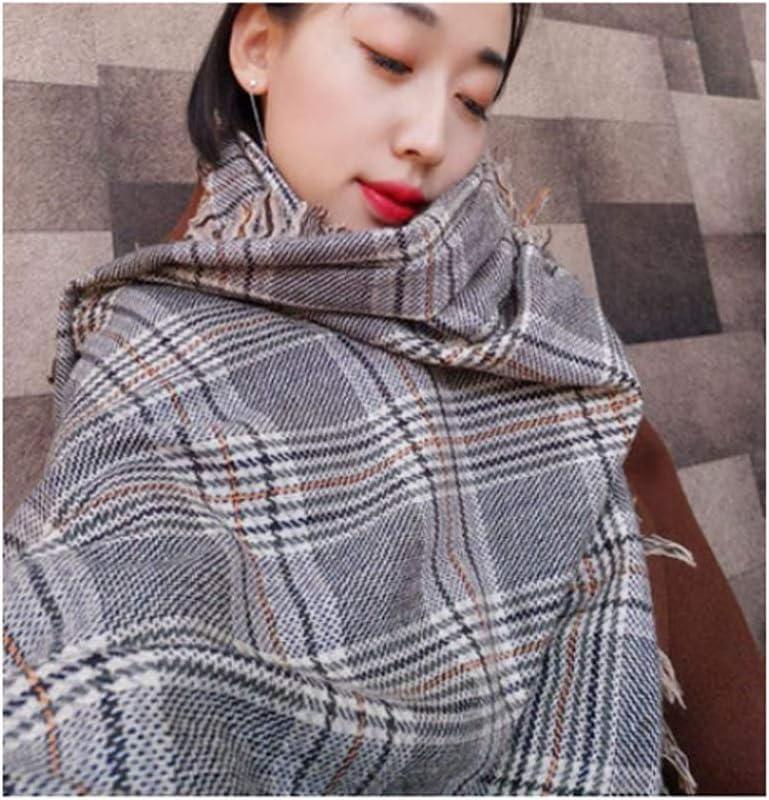 ZANZAN Fashion Scarf Christmas Scarf Fashion Super Soft Luxurious Cashmere Feel Winter Warm Checked Shawl Wrap Scarf The Best Scarf Gift (Color : Plaid)