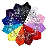 ZOEON 12er Set Paisley Bandana Halstuch 55 x 55 cm Kopftuch Armtuch Mischfarben Haar, Set für Frauen, Männer und Kinder Mode-Accessoires