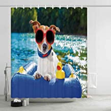 YOLIYANA Funny Printing Eco Friendly Shower Curtain,Jack Russell Dog with Sunglasses Sitting on The Lake Beach Puppy at Beach Picture for Girls Boys,70.87