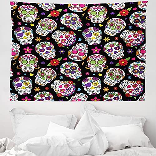 ABAKUHAUS Zuckerschädel Wandteppich & Tagesdecke, Mexiko Themed Entwurf, aus Weiches Mikrofaser Stoff Wand Dekoration Für Schlafzimmer, 150 x 110 cm, Mehrfarbig
