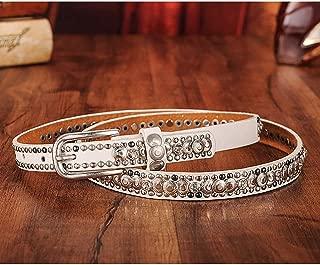 Ethnic Style Retro Jeans Belt for Women Fashion Rivet Belt. (Color : White)