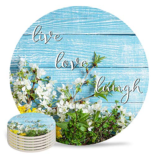 6-Piece Set Ceramic Coasters for Drinks,Live Love Laugh Flower on Blue Wood Grain Unique Absorbent Round Ceramics Cork Backed Cup Mat for Home/Housewarming Gift