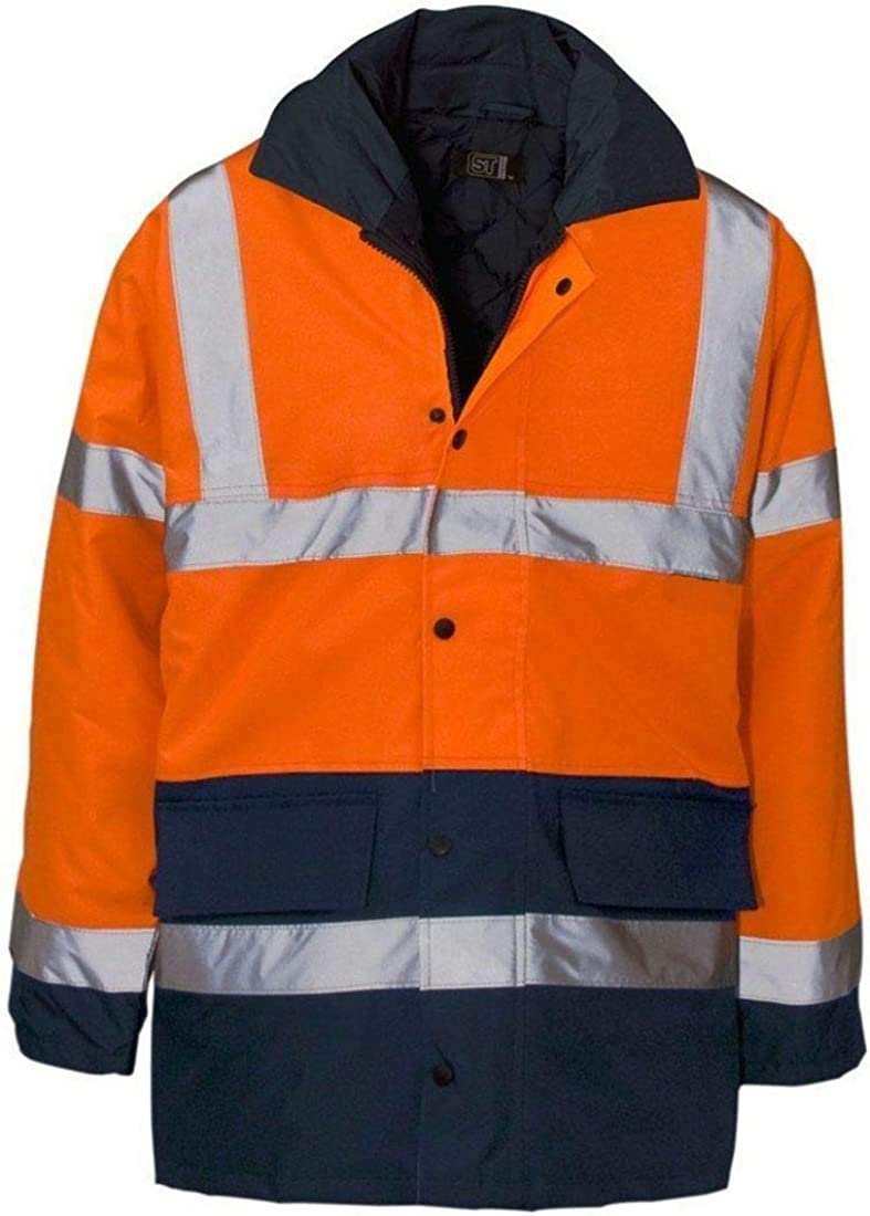 Spinbit Mens High Visibility Two Tone Parka Jacket Long Sleeve Reflective Work Wear Top