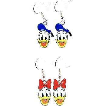 Disney inspired Donald Duck and Daisy Duck Cartoon Character Metal Drop Dangle Hook Earrings W//Gift Box