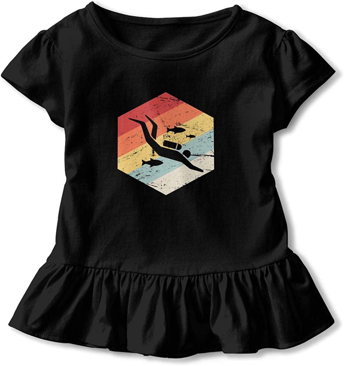 Scuba Diver Baby Girls Round Collar T-Shirt Help Shirt