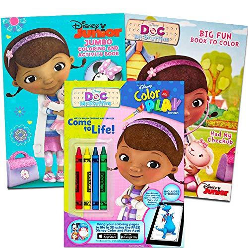 Disney Junior Doc McStuffins Coloring Book Super Set - Bundle with 3 Books with Stickers and Crayons (Doc McStuffins Party Supplies)