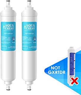 AQUACREST GXRTQR Inline Water Filter, NSF Certified, Compatible with GE GXRTQR, GXRTQ System, Reduces Chlorine, Fluoride, Limescale and More, For Refrigerator, IceMaker, RVs (Pack of 2)