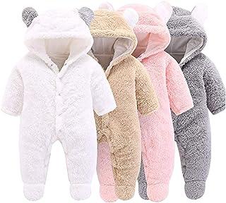 Haokaini Neugeborenenenen-Schneeanzug mit Bär-Motiv, Baumwolle/Fleece, Kapuze, Strampler, Overall, für Babys