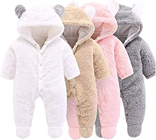 Haokaini Newborn Bear Warmer Snowsuit Cotton Fleece Hooded Romper Jumpsuit for Baby Girl Boy