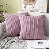 MIULEE 2er Set Cord Weiches Massiv Dekorativen Quadratisch Überwurf Kissenbezüge Kissen für Sofa Schlafzimmer 16'x16', 40 x 40 cm Rosa Lila