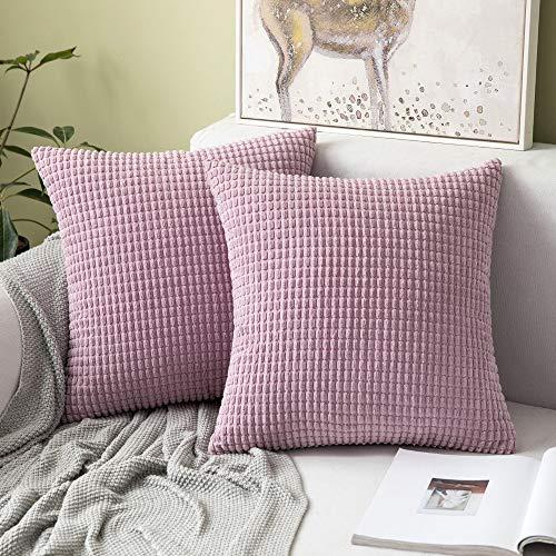 MIULEE 2er Set Cord Weiches Massiv Dekorativen Quadratisch Überwurf Kissenbezüge Kissen für Sofa Schlafzimmer 16