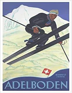 Adelboden Vintage Swiss Art Deco Ski Poster - 30 x 40 inches, Comes in 3 Sizes