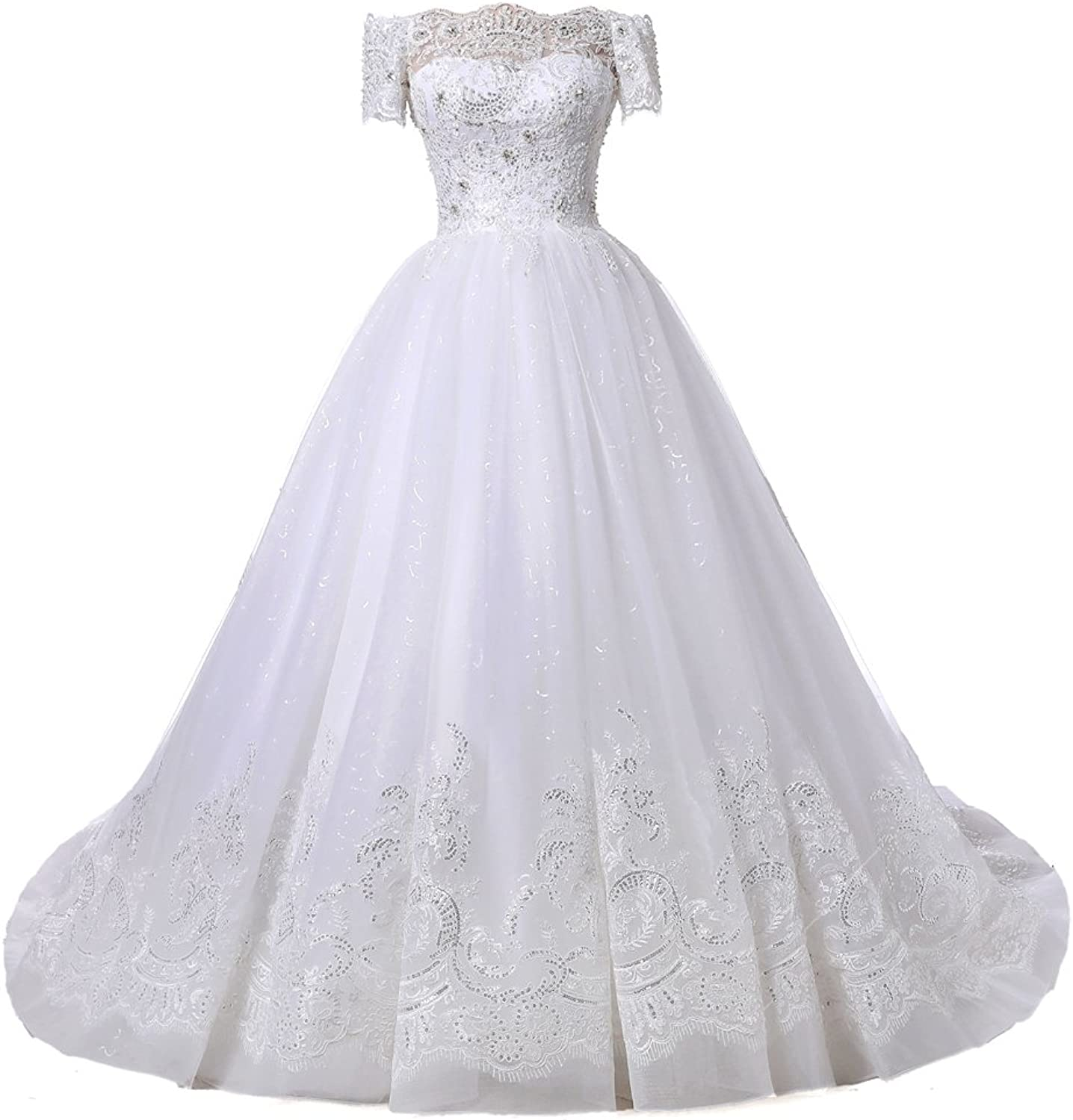 Alexzendra Women's Ball Gown Wedding Dresses For Bride Off The Shoulder Short Sleeves Bride Gowns Plus Size