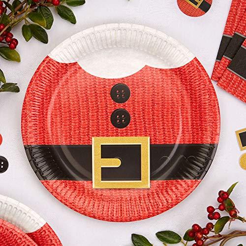 Premium Weddings Pappteller Weihnachten Santa Claus 8 Stück - Teller Nikolaus Weihnachtsmann