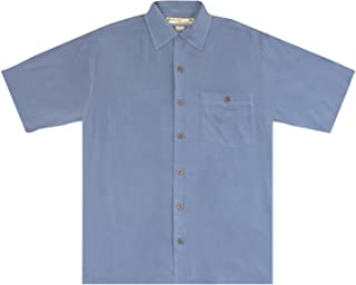 Estee Lauder Beyond Paradise Mens 100% Silk Solid Shirt Blue XX-Large
