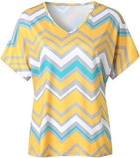 Domple Women's Casual V Neck Zig Zag Chevron Short Sleeve Tee Shirts Blouse Top