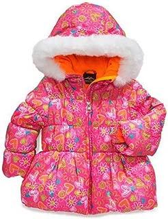 Pacific Trail Toddler Girl Pink Floral Winter Ski Jacket Fur Trim Puffer Coat