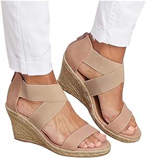 Sandales Femme Talon Compensé Plate-Forme Espadrilles CompenséEs Femme Mules Femme Compensees Chaussure Femme Talon Mode T...
