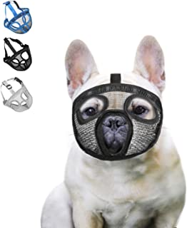 wintchuk Short Snout Dog Muzzle Mesh Mask-Stop Dog for Biting Barking Chewing, Adjustable