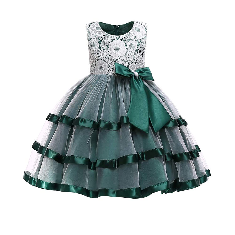 Yufuli ガールズドレス 子供 可愛い 人気 おしゃれ レースちょう結び お姫様 結婚式 パフォーマンス フォーマル ピアノ演奏会 チュチュドレス服