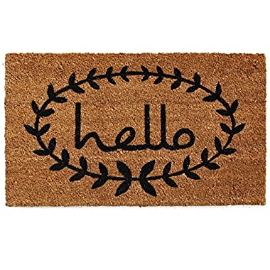 Home & More 121811729 Calico Hello Doormat, Natural/Black, 17  x 29  x 0.60