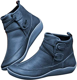 Loosnow Women's Boots, Winter Snow Boots Leather Ankle Spring Flat Shoes Woman Short Boots