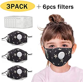 JQjian 3pc Face Bandana with Valve reusable + 6pcs Activated Carbon Filters Replaceable for kids (Black)