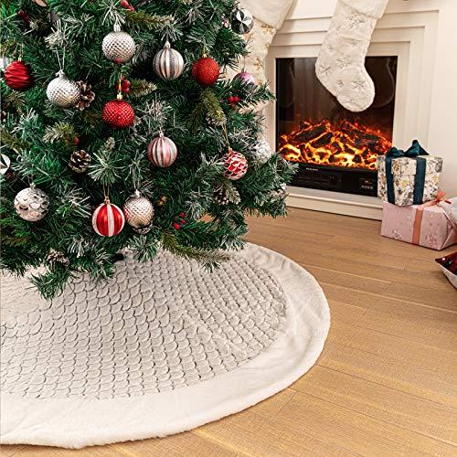 N /A Henrey Tech Weihnachtsbaum Rock Weihnachtsbaumdecke 122 cm Weißer Plüsch Stickerei Pailletten Weihnachten Party Weihnachtsbaum Dekorationen