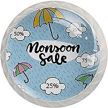 AITAI Paraplu's Blauwe Ronde Kabinet Knop 4 Pack Trekt Handgrepen