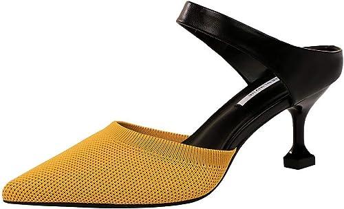SYXLBDK Chaussures Chaussures Chaussures Femme Décontracté La Mode Baotou Chaussures Talon De 7 Cm De Haut Fine Ceinture Talon Creux en Un Mot Petite Bouche Pointu des Couleurs De La Laine des Pantoufles 915