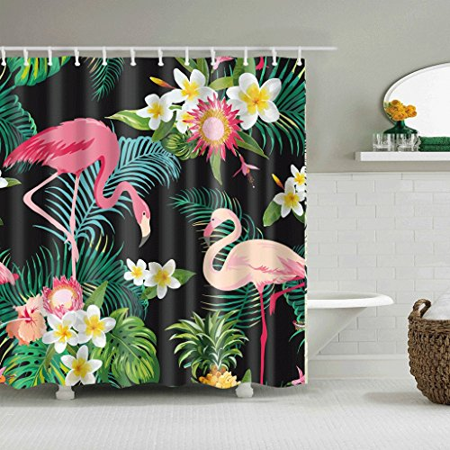 WTL Rideaux de douche Rideaux de douche Flamingo Pattern Waterproof Quick To Dry Matériaux respectueux de l'environnement Metal Hook Hanging Hole (taille : 165 * 180cm)