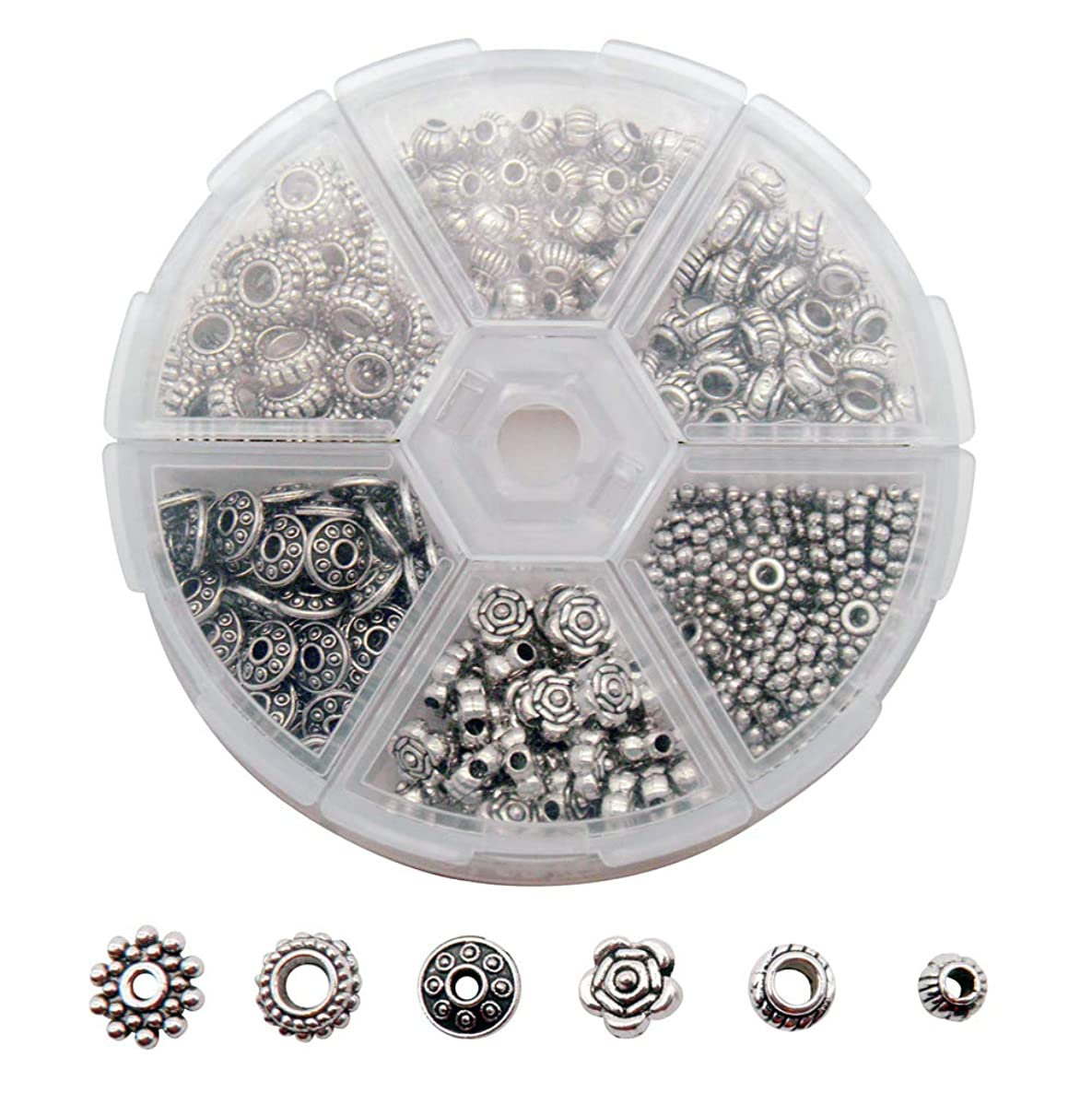 300 PCS Tibetan and Bali Silver Finish Metal Alloy Spacer Beads for Jewelry Making Findings 6 Style Look Bulk Bead Aeeortment Great for DIY, Bracelets, Necklaces and Crafting
