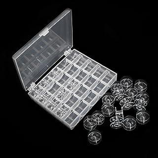 Sicai 25 Pièces Bobines de Machine à Coudre, Canettes en Plastique avec Boîte de Rangement ( Transparent )