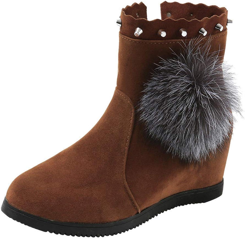 ZHRUI Stiefel Damen Schuhe Stiefeletten Frauen Wildleder Hairball runde Spitze Keile Schuhe Reine Farbe reiverschluss halten warme Stiefel (Farbe   Braun, Gre   37)